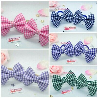 Baby Kleidung, Schuhe & Accessoires 2x GINGHAM HAIR BOWS GIRLS HAIR BOBBLES TODDLER PONIO SCHOOL HAIR ELASTIC BANDS