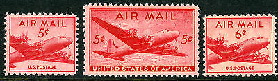 US Scott #C32 C33 C39 DC-4 Skymaster (1946-49)  5¢& 6¢ SET of 3 MNH**FREE SHIP**