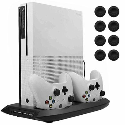 Xbox One S Vertical Stand Cooling Fan Holder Dual Charging Station X-Box 1 S