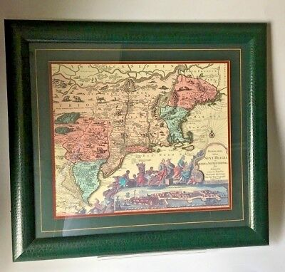 North America - East Coast - Spanish Old Map Reproduction Framed Faux Leather