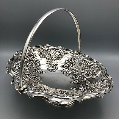 Mappin and Webb Repoussé Princess Plate Silver Plated Bridal Basket Footed