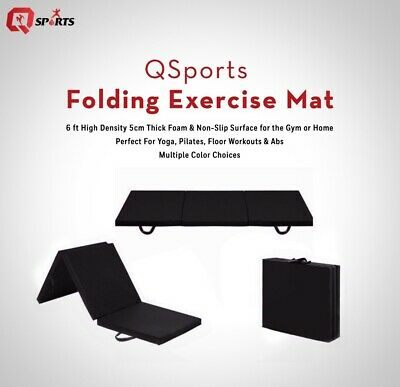 Tri Folding Mat Gym Exercise Training Workout Yoga Mat 5cm Thick Non Slip 6ft