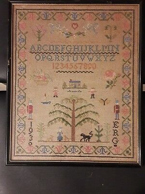 1930 Antique Cross Stitch Alphabet Sampler colorful Dated Signed Framed Glass