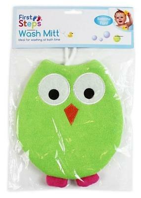 Green Terry Lined Kids Owl Bathtime Wash Mitt