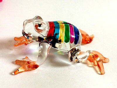 FROG HAND BLOWN GLASS ANIMAL FIGURINE MINIATURE COLLECTIBLE GIFT HOME DECOR ag