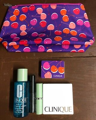 Clinique Gift with Purchase 5 Piece Makeup Set w/ Cherry Cosmetic Bag