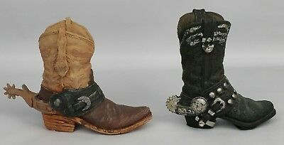 "Ceramic Decorative Cowboy Boot 4"" Tall Spurs Western Decor"