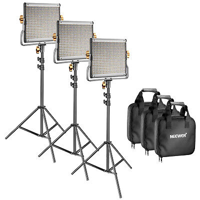 Neewer Photo 3-Pack Dimmable Bi-color 480 LED Video Light and Stand Lighting Kit