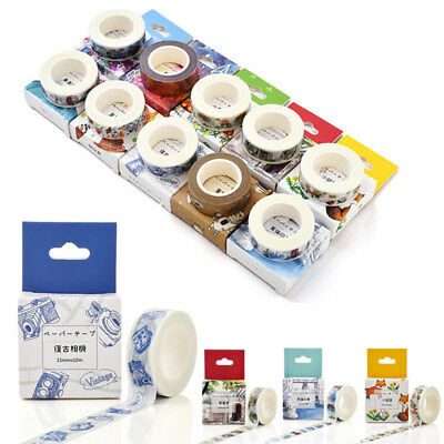 10M Multi Pattern Washi Masking Tape Scrapbook Paper Adhesive DIY Sticker Decor