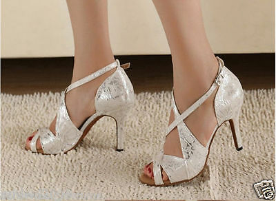 Details about  /Lady Latin Dance Shoes Ballroom Rumba Tango Sparkly Waltz Bottom Rubber Sole