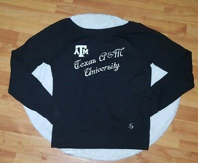 NWT Soffe Size Med Juniors Black TEXAS A&M University Fan College Sweatshirt