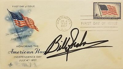 Rev. Billy Graham (d.) Signed 1957 American Flag FDC First Day Cover - JSA COA