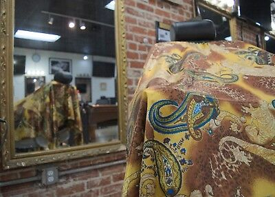 Gold Paisley Haircut Cape Barber Gown Stylist Hairdresser Cutting Handmade