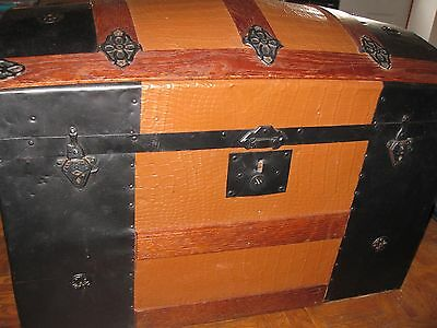 Dome Top Trunk Steamer Trunk Covered In Alligator Tin Ladies Trunk Child's Trunk