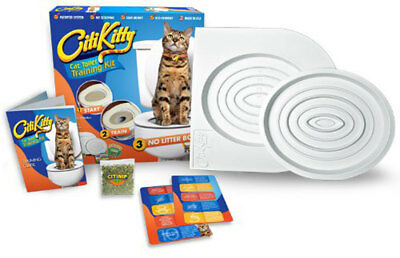 Cat Toilet Training Kit System Litter Tray Seat Potty Train Pet Kitty Clean Tidy