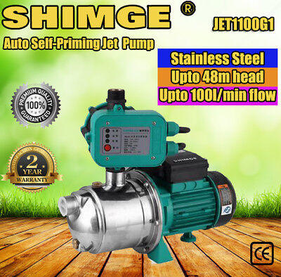SHIMGE STAINLESS STEEL AUTO SELF-PRIMING SURFACE JET PUMP 1.1kw JET1100G1