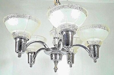 Antique Art Deco Nouveau Chrome+Glass 5 Arm Chandelier With Fancy Shades