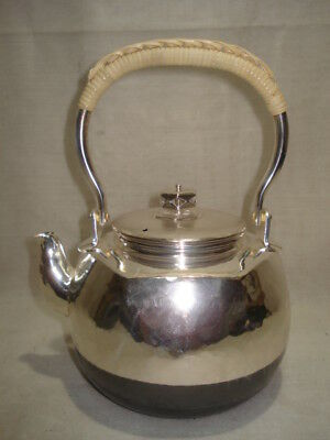 Japanese Antique KANJI old Silver plating Tea Kettle Tetsubin teapot Chagama 002