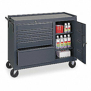 GRAINGER APPROVED Steel Mobile Service Bench,18 In. L,42 In. W, 6YE50, Gray