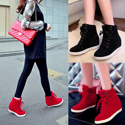 b2636eec708d Women Suede Lace Up Athletic Shoes Hidden Wedge Ankle Boots High Top  Sneakers