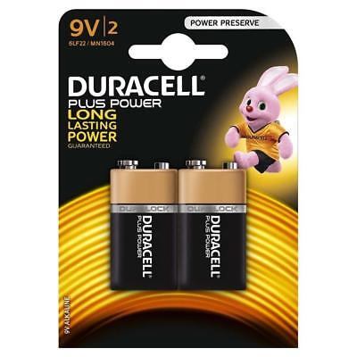2 x Duracell Plus Power 9v Batteries PP3 MN1604 Duracell Smoke Alarm EXPIRY 2020