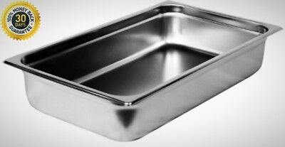 Steam Table Pan Full Size 4 Deep With Cover Lid Stainless Steel Catering Buffet