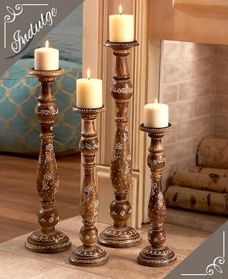 """4 PC Unique Decorative Wooden Crafted Pillar Candle Holder Set 16"""" - 24"""" Tall"""