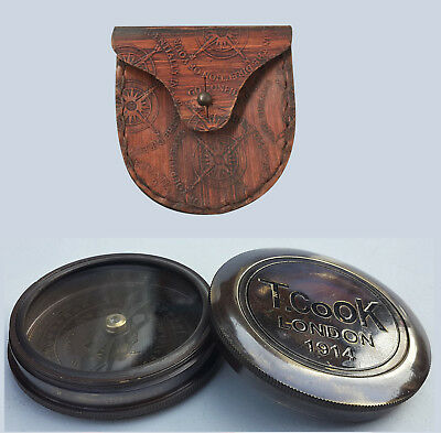 Antique Brass Pocket Compass T.Cook London 1914 w/ Leather Case From Unidecor