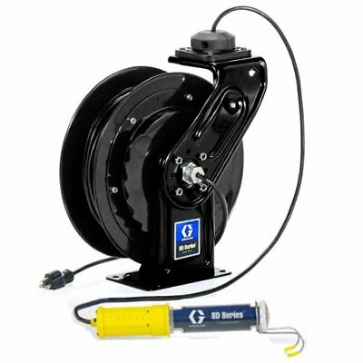 GRACO 24Y866 Black Cord Reel, Fluorescent Light SD Series, 50', 16AWG