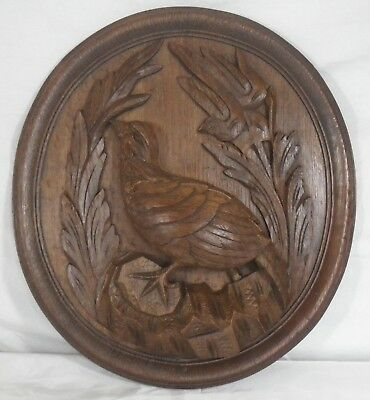 antique french carved architectural panel door wood oak Bird N°B