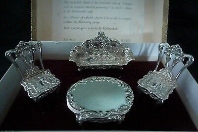 Miniature Sterling Silver Jubilee Hallmarked 4 piece furniture boxed set