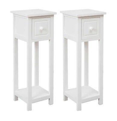 Pair Of Tall Slim Bedside Cabinet Side Table Bedside Table Telephone Tables  Wood