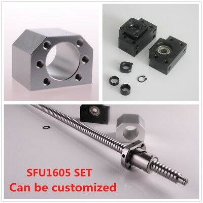 CNC Ballscrew SFU1605 L= 250MM-1050MM C7 & BK/BF12 End Support & Ballnut Housing
