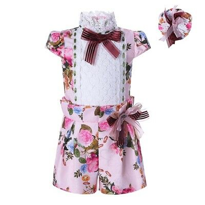 Girls Jumpsuit + Headband Set Spanish Kids Flower Playsuit Summer Party Holiday