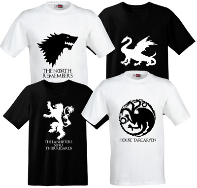 Game of Thrones Stark, Lannister, Targaryen & Dragon (Black & White) Unisex