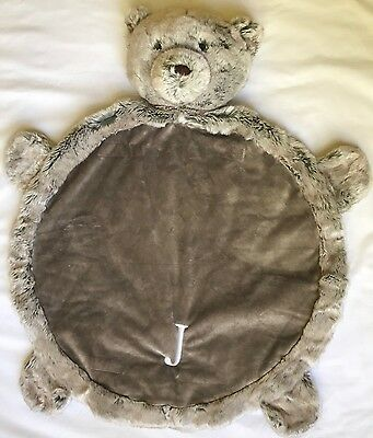 "Pottery Barn Kids Round Bear Plush Play Mat Monogram ""J"""