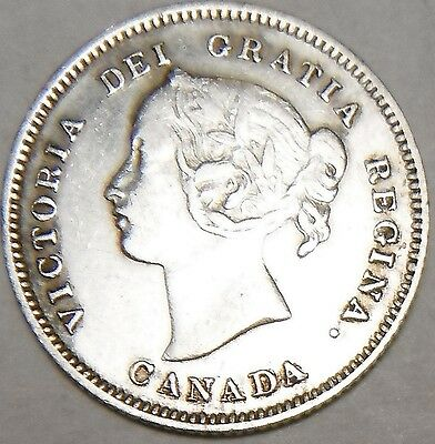 circulated,used, old,vintage,Canada 1900 5 cents SILVER COIN L868