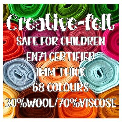 Creative Felt, Wool Blend Felt, EN71 Certified for Dolls, Soft Toys, Plushies