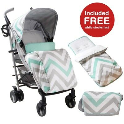 My Babiie MB51 Mint Chevron Stroller Pushchair with FREE Cosytoes & Changing Bag
