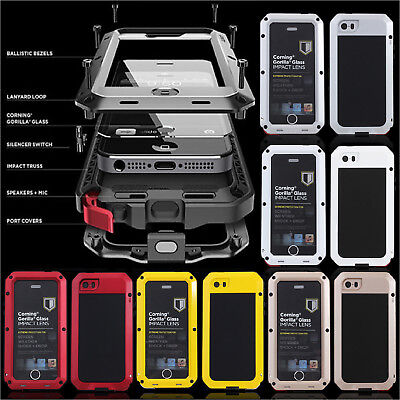 Aluminum Metal Hybrid Glass Rugged Shockproof Case Cover For iPhone Xs Max Xr 8+