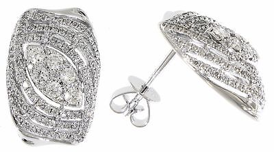 1.13 Ct Diamond Curved Broad Studs 14K Solid White Gold Earrings Gift For Ladies