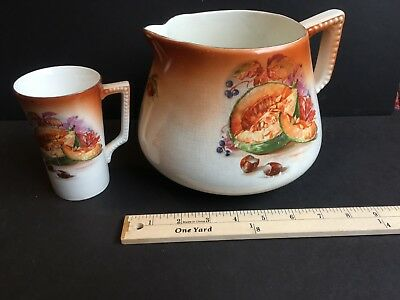 """Vintage Owen Minerva China Co. """"Gold Medal St. Louis"""" Pitcher with Cup"""