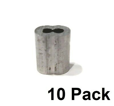 """(10) New 1/8"""" Wire Rope ALUMINUM CABLE CLAMP Double Barrel Loop Ferrule Sleeves"""
