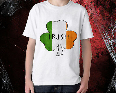 St Patricks Day T Shirt Ireland FLAG Shamrock Paddys Day Men Women kids tee top