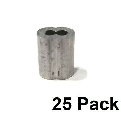 """(25) 1/8"""" Wire Rope ALUMINUM CABLE CLAMP Double Barrel Snare Swage Connectors"""