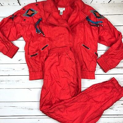 Vtg 90s LAVON Retro South Western Red Windbreaker Tracksuit Size: Large