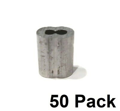 """(50) New 1/8"""" Wire Rope ALUMINUM CABLE CLAMP Double Barrel Loop Ferrule Sleeves"""