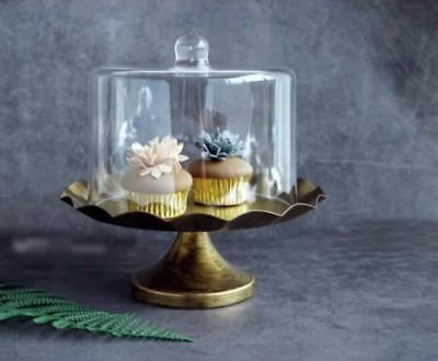 Glass dome cake stand metal cake tray vintage black gold tools for cake candy ba