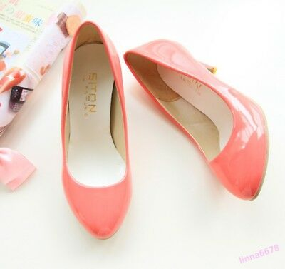 Spring Women Mid Kitten Heel Pumps Shoes Casual Round Toe Sweet Casual Slip On