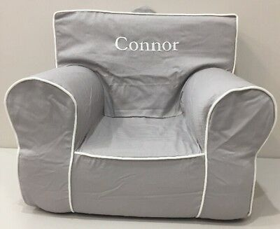 NEW Pottery Barn Kids Gray w/Piping MY FIRST ANYWHERE CHAIR w/Cover Mono *Connor